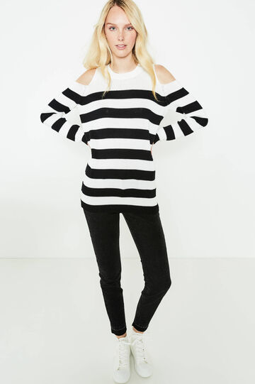Striped pullover with shoulder openings