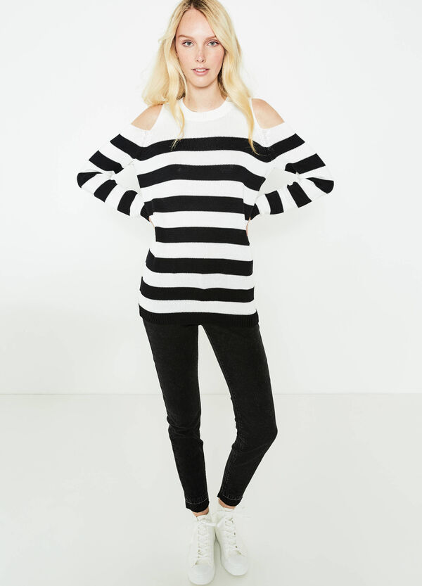 Striped pullover with shoulder openings | OVS