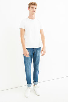 Worn-effect regular-fit jeans with whiskering, Denim, hi-res