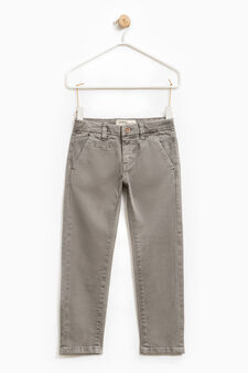 Solid colour stretch chino trousers, Light Grey, hi-res