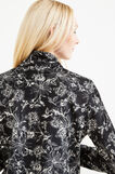Fleece sweatshirt with floral pattern and zip, White/Black, hi-res