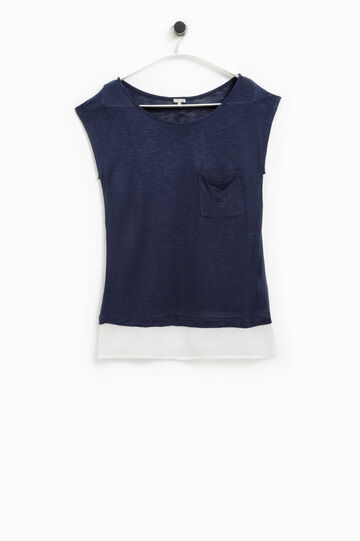 Smart Basic T-shirt with contrasting insert, Navy Blue, hi-res