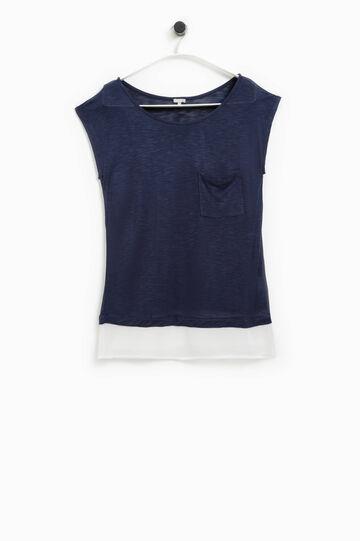 T-shirt con inserto a contrasto Smart Basic, Blu navy, hi-res