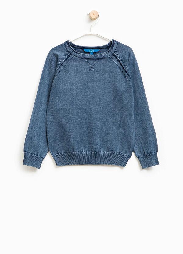 Jersey en punto tricot de algodón 100% con cuello redondo | OVS