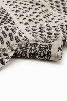 Scarf with all-over print, White/Black, hi-res