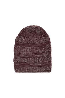 Striped knitted beanie cap, Royal Purple, hi-res