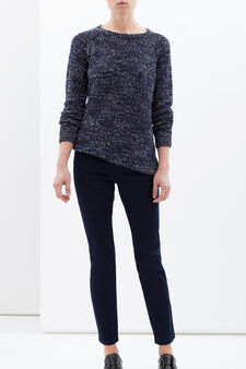Pantaloni misto cotone stretch push up, Blu, hi-res