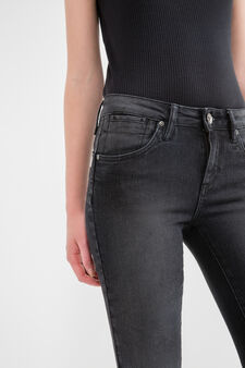 Regular-fit stretch jeans with zip, Black, hi-res