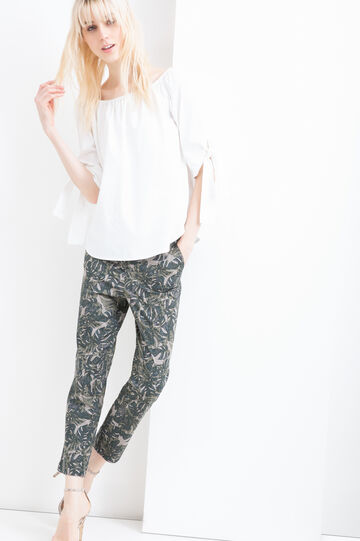 Printed stretch cotton trousers, Green, hi-res