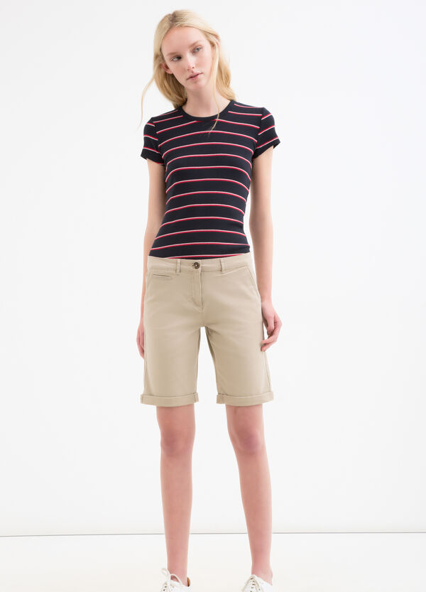 Stretch cotton twill shorts | OVS