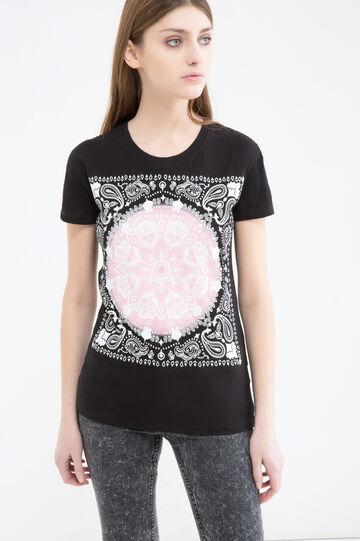 Maxi print cotton T-shirt, Black, hi-res
