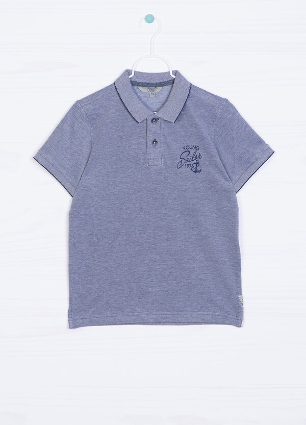 100% cotton polo shirt with printed lettering | OVS