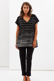 Curvy stripe print T-shirt, Black, hi-res