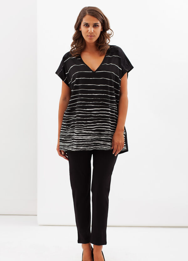T-shirt Curvy stampa righe | OVS