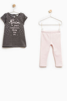 Printed stretch cotton outfit, Grey/Pink, hi-res