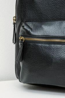 Solid colour textured backpack, Black, hi-res