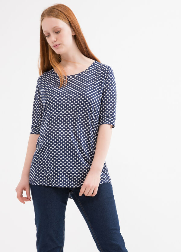 Curvy polka dot T-shirt in 100% viscose | OVS