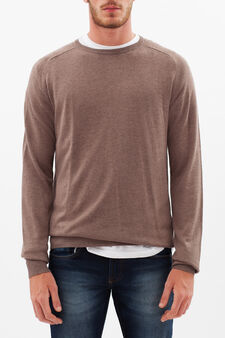 Round neck sweater, Taupe Grey, hi-res