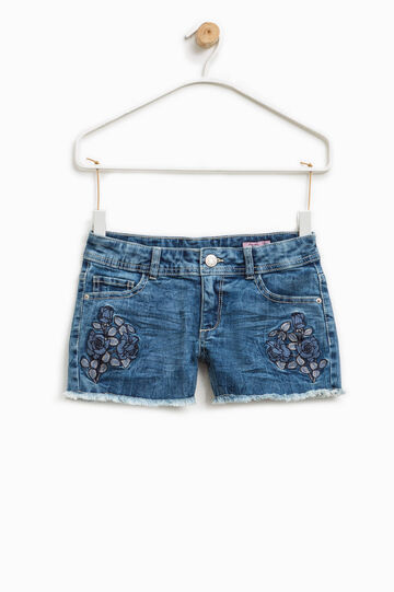 Stretch denim shorts with floral embroidery, Medium Wash, hi-res