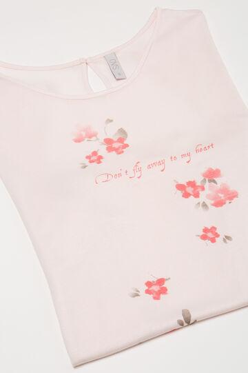 Printed pyjama top in 100% viscose, Pink, hi-res