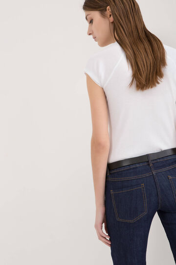 T-shirt puro cotone scollo arricciato, Bianco, hi-res