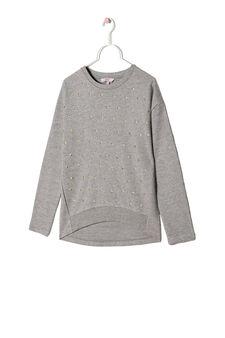 Rhinestone sweatshirt in 100% cotton, Light Grey, hi-res