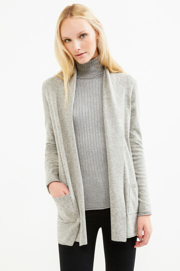 Open cardigan with shawl neck, Grey Marl, hi-res