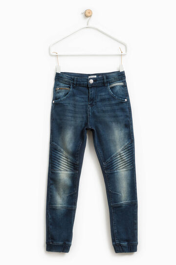 Worn-effect tapered-fit stretch jeans, Blue, hi-res