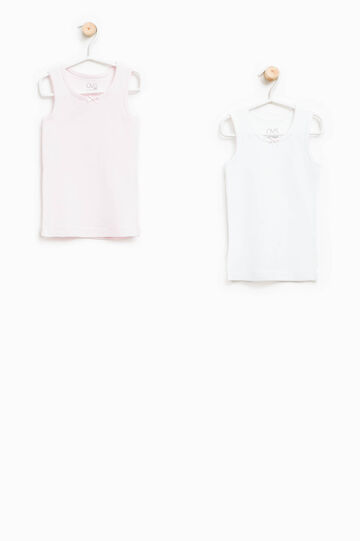 Two-pack solid colour vest tops, White/Pink, hi-res