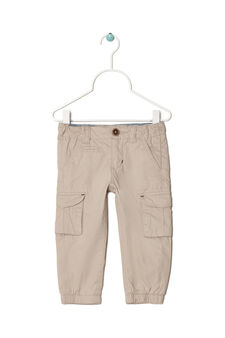 Solid colour 100% cotton trousers, Beige, hi-res
