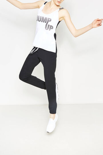 Two-tone top with printed lettering, White/Black, hi-res