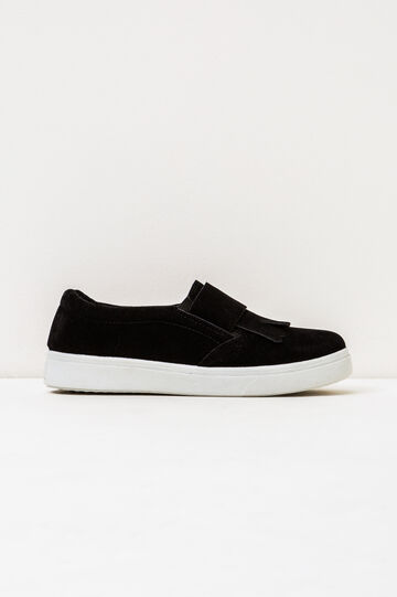 Solid colour slip-ons with contrasting sole., Black, hi-res