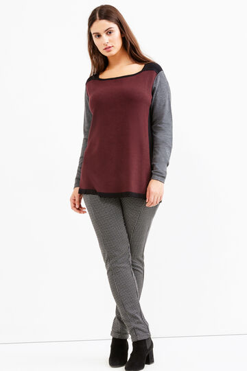 Curvy pullover with contrasting sleeves and back, Multicolour, hi-res