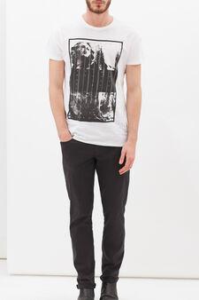 T-shirt in puro cotone con stampa, Bianco, hi-res