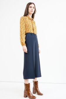 Pantaloni gaucho con piega, Blu scuro, hi-res