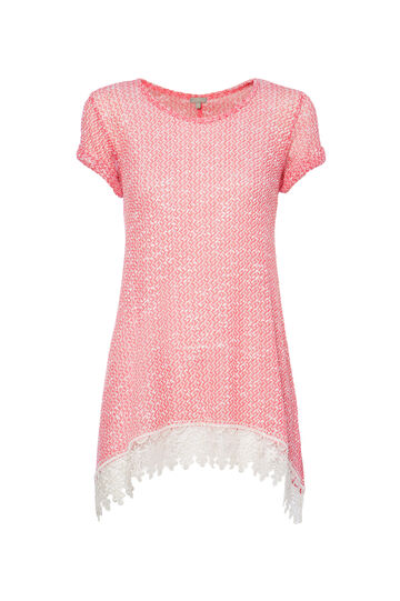 T-shirt inserto floreale Smart Basic, Rosa corallo, hi-res