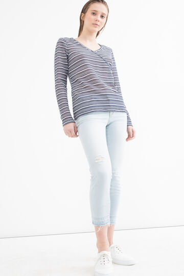 Stretch T-shirt with striped pattern