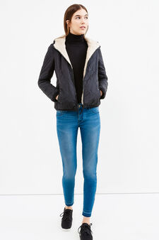 Jacket with faux fur lining, Black, hi-res