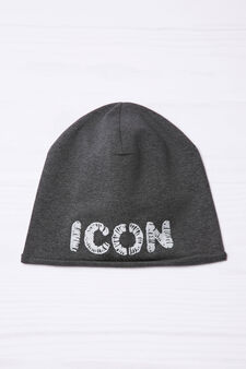 Embroidered beanie cap, Dark Grey, hi-res