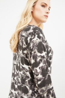 Curvy cardigan with all-over print, Grey, hi-res