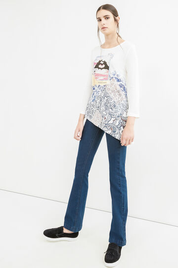 Printed T-shirt with asymmetric hem, Milky White, hi-res