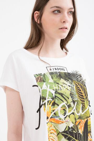 T-shirt puro cotone con stampa, Bianco latte, hi-res