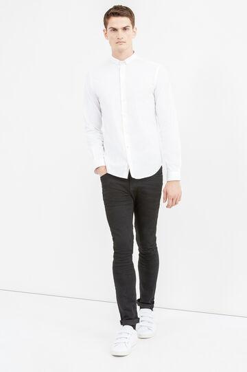 Camicia formale custom fit tinta unita, Bianco, hi-res