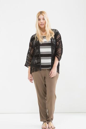 Curvy cotton cardigan with fringe, Black, hi-res
