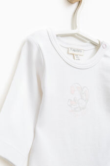 Set of two solid colour bodysuits wirth rabbit motif, Pink, hi-res