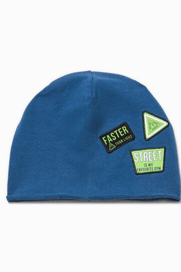 Cappello a cuffia con patch, Blu avio, hi-res