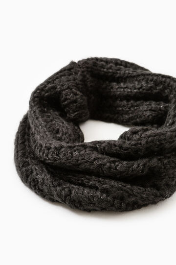 Knitted neck warmer with lurex, Black, hi-res