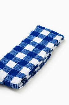 Stretch cotton check-patterned long socks, Royal Blue, hi-res