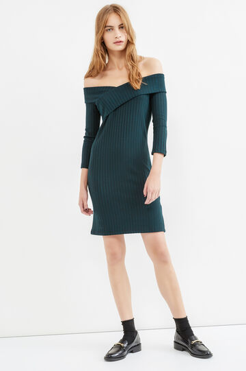 Solid colour stretch ribbed dress, Green, hi-res