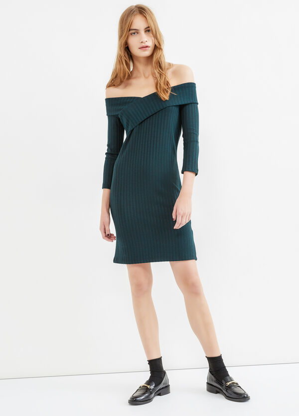 Solid colour stretch ribbed dress | OVS